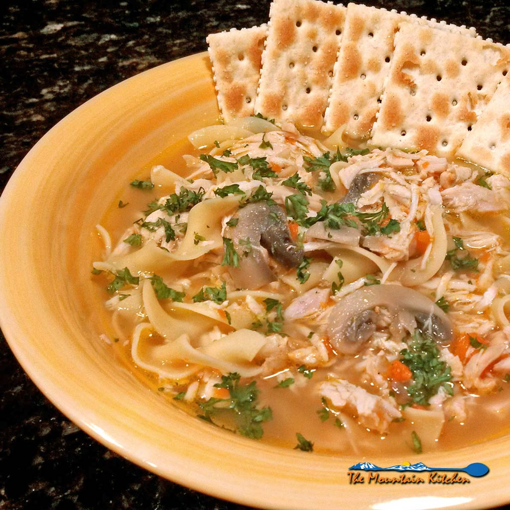 This homemade chicken noodle soup has a flavorful stock, fresh chicken, traditional vegetables, and egg noodles. No fancy ingredients, just great flavor! | TheMountainKitchen.com