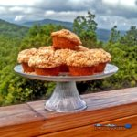 These Applesauce Muffins are moist, filled with chunky applesauce and topped with a cinnamon crumb topping. They will make your kitchen smell like fall! | TheMountainKitchen.com