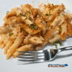 Adult macaroni and cheese has bold flavor with a rich creamy sauce made with Gruyère, cheddar and blue cheeses, topped with breadcrumbs and fresh basil. | TheMountainKitchen.com