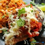 Baked Mango Salsa Chicken: Chicken breasts coated in Mexican spices, baked with cheese topped with an exotic, chunky, sweet, spicy salsa, on a bed of rice. | TheMountainKitchen.com