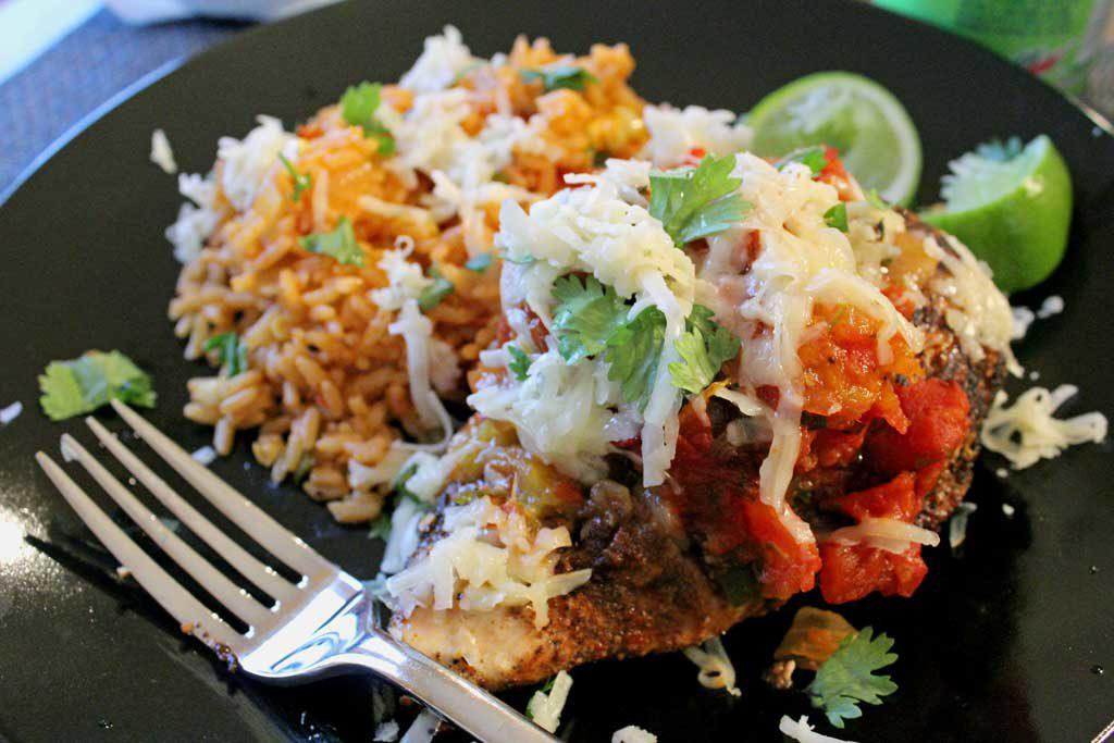 Baked Mango Salsa Chicken on plate