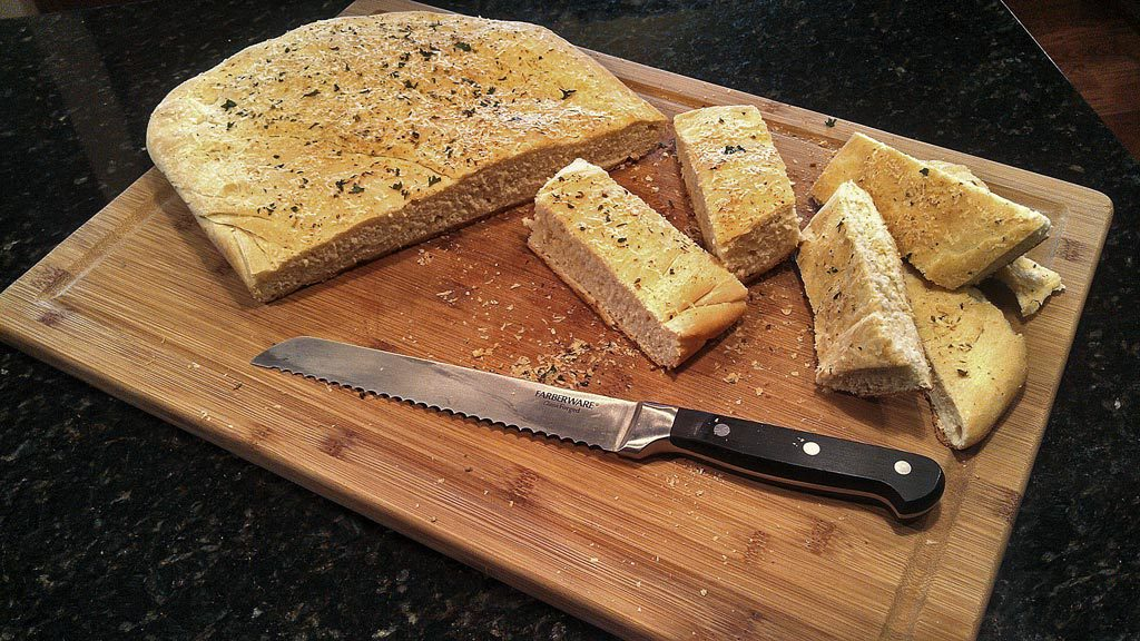Homemade Focaccia Bread ready to eat