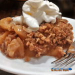 David's apple crisp uses fresh golden delicious apples and topped with rolled oats, sugar, cinnamon and pecans. A wonderful dessert for fall gatherings! | TheMountainKitchen.com