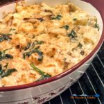 Mushroom spinach strata is a savory bread pudding made of bread, eggs, cheese mushrooms and spinach made with Gouda and Gruyere cheeses. Brunch or dinner!   TheMountainKitchen.com