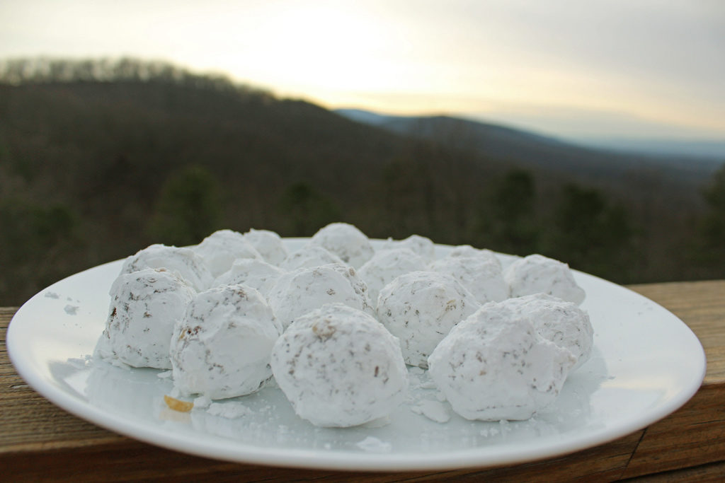 date nut balls with mountain sunset