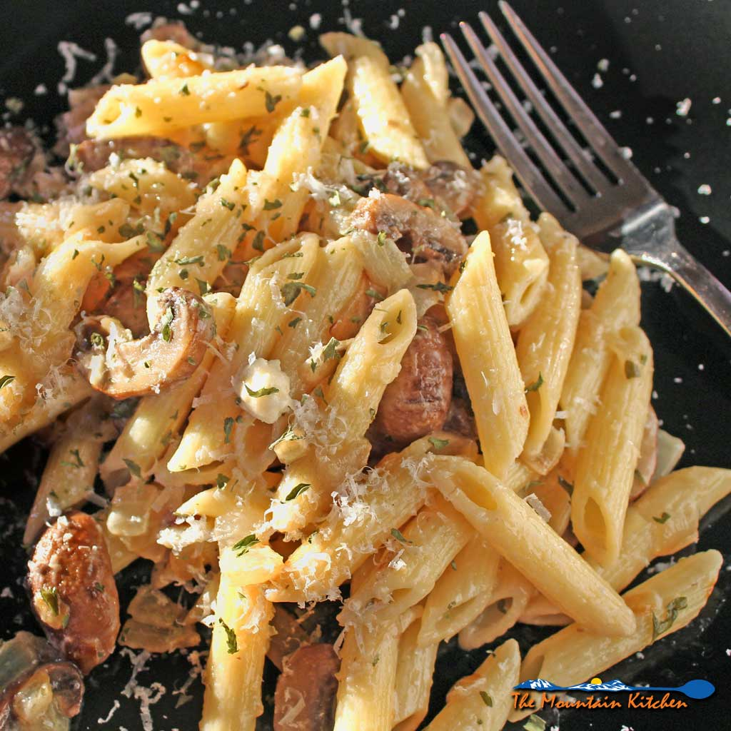 Penne With Mushrooms, Onions and Goat Cheese {A Meatless Monday Recipe