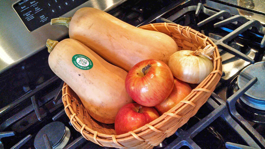 produce in basket to make soup