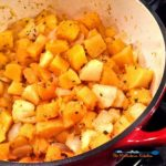 The sweet butternut squash, apples, and onions, cook down quickly in this Farmhouse butternut squash soup, into a thick, velvety soup laced with fresh sage.   TheMountainKitchen.com