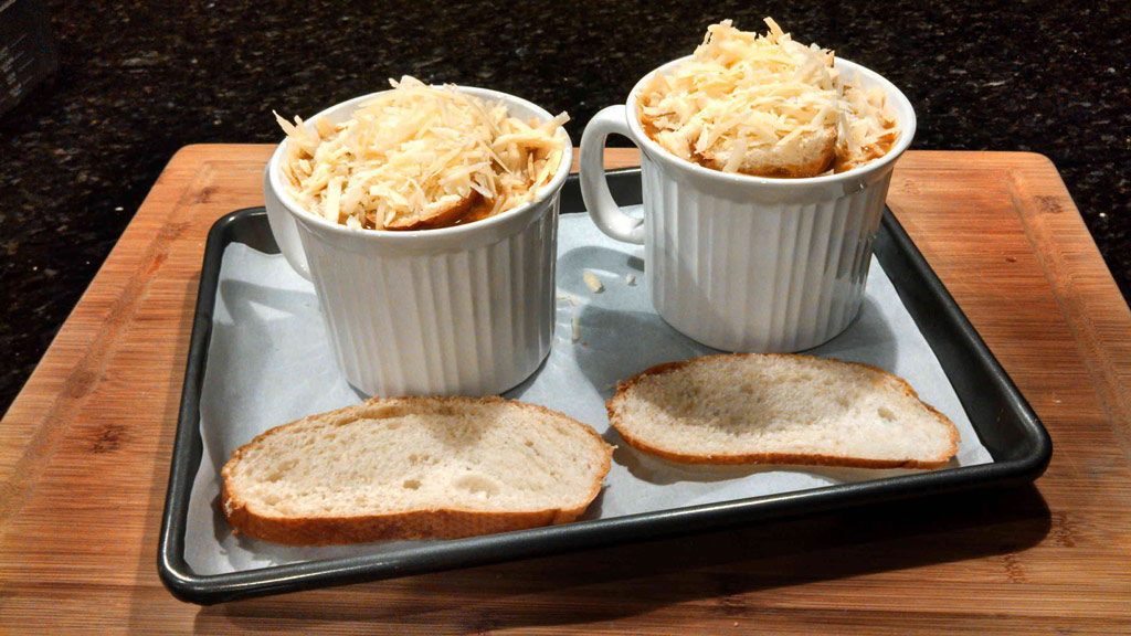 Healthy French Onion Soup topped with cheese