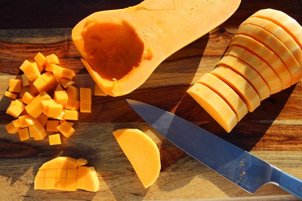 butternut squash cut on cutting board