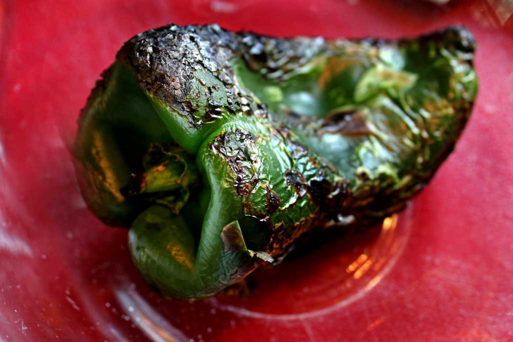 charred poblano in bowl