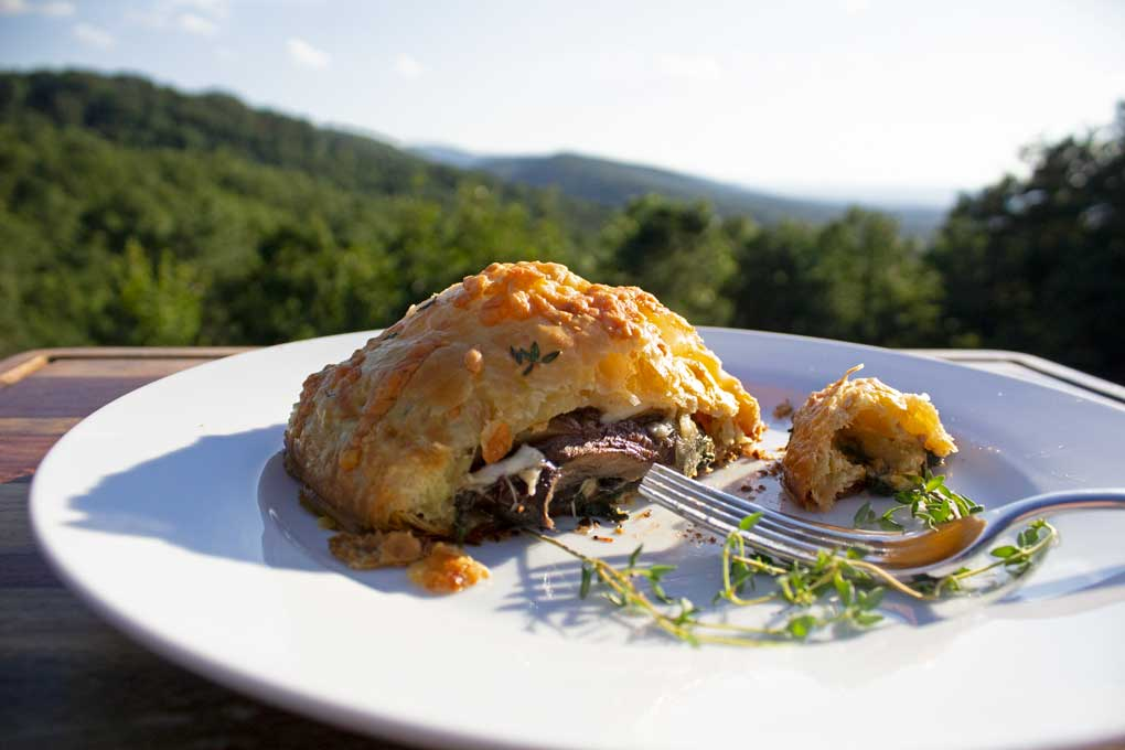 mushroom wellington with mountain view