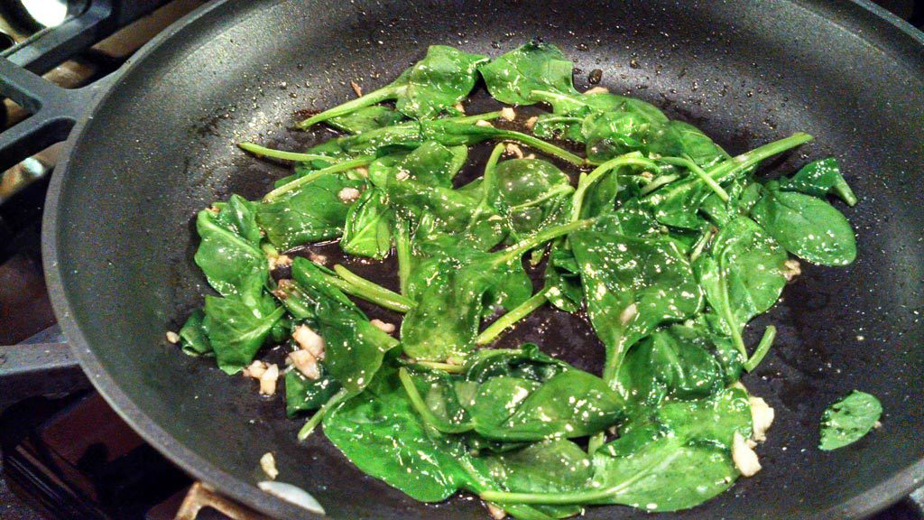 spinach in skillet