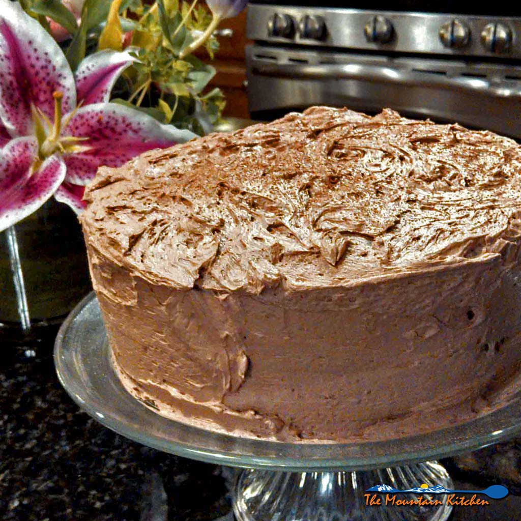 Go from good to naughty in minutes with this naughty cake! Rich Devils food cake made from scratch frosted with a chocolate buttercream frosting.