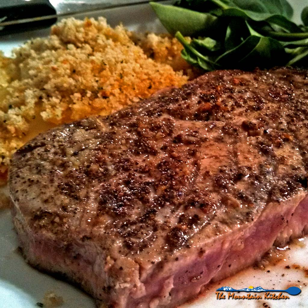 Pan Seared Lemon Pepper Tuna Steaks {For really expensive tuna steaks