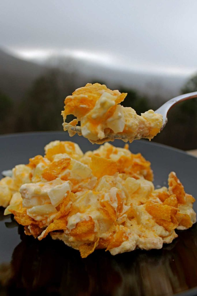 Hash Brown Potato Casserole with mountain view