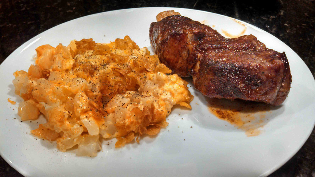 Hash Brown Potato Casserole served with pork