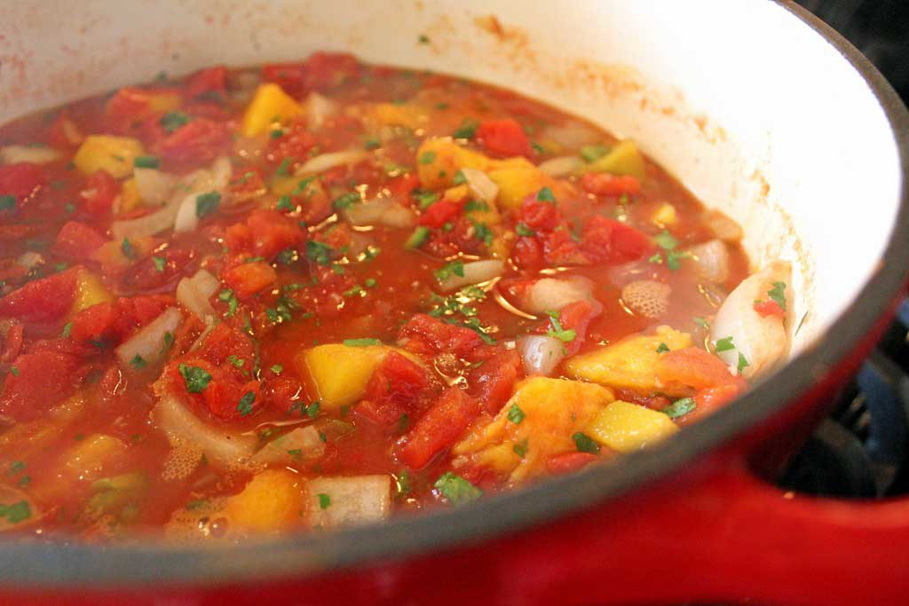 simmering pot of salsa