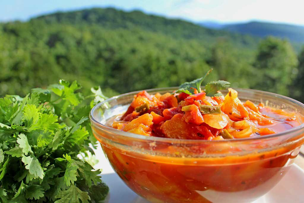 Mango Salsa in bowl with mountain view