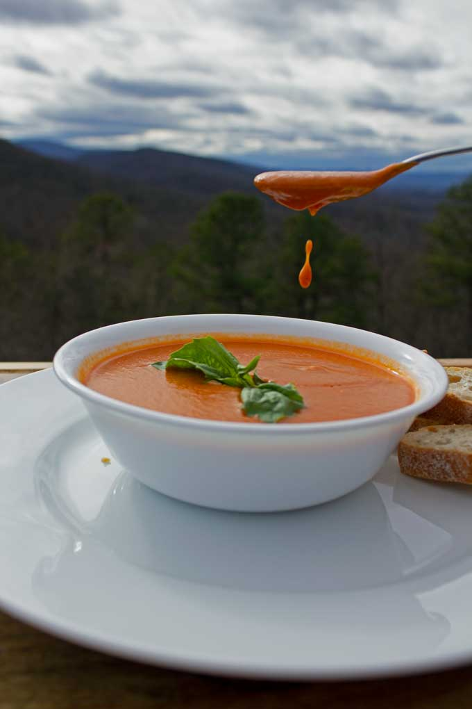 roasted tomato soup dripping in bowl with mountain view