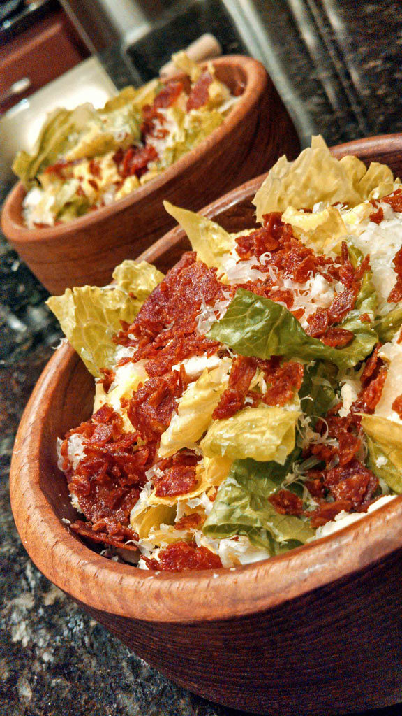 Give your Caesar salad a wow factor, by adding crispy pepperoni bits and tangy feta cheese. You'll love those tasty tidbits in the bottom of the bowl. | TheMountainKitchen.com