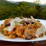 This baked saffron risotto infuses mushrooms and onion with saffron creamy mozzarella cheese and parmesan cheese are added for extra creaminess and flavor. | TheMountainKitchen.com