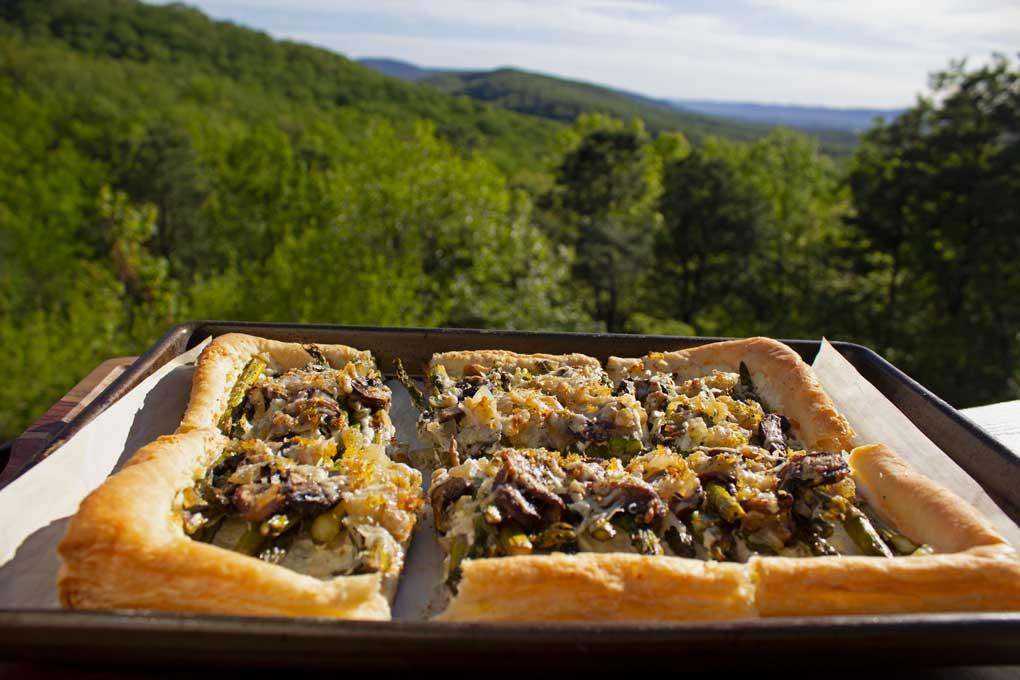 asparagus-ricotta tart with mountain view