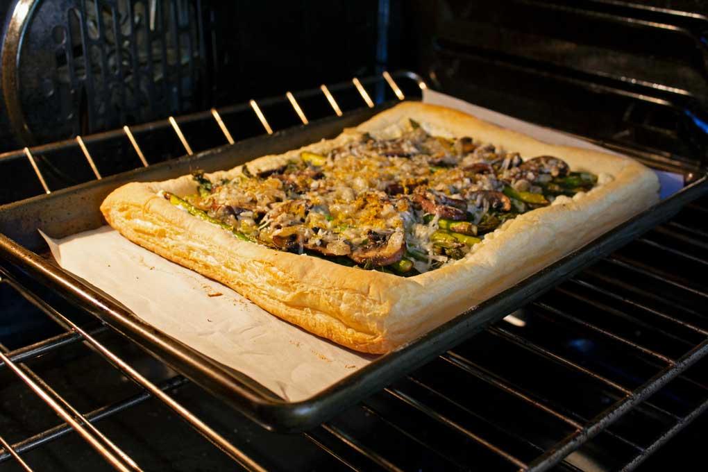 tart inside oven baking