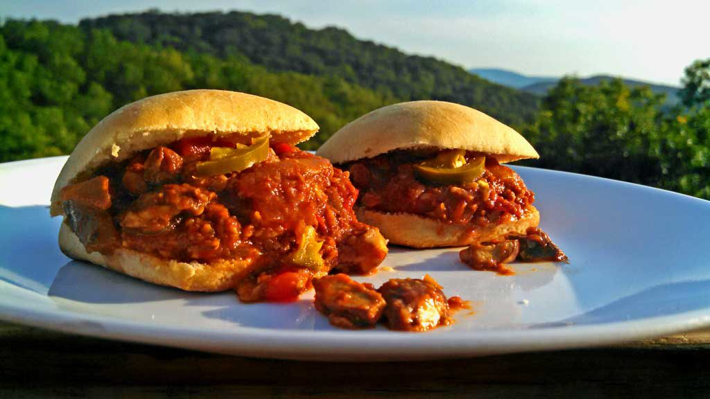 Spicy Sloppy Mushroom Sliders are a healthy vegetarian version of classic Sloppy Joes. Quick, and easy to make and just as good. You'll never miss the meat! | TheMountainKitchen.com