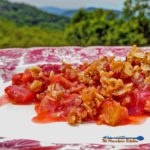 Strawberry Rhubarb Crisp ~ Strawberries and rhubarb coated in sugar with a brown sugar oat topping with warm tones of cinnamon, nutmeg and ginger. | TheMountainKitchen.com