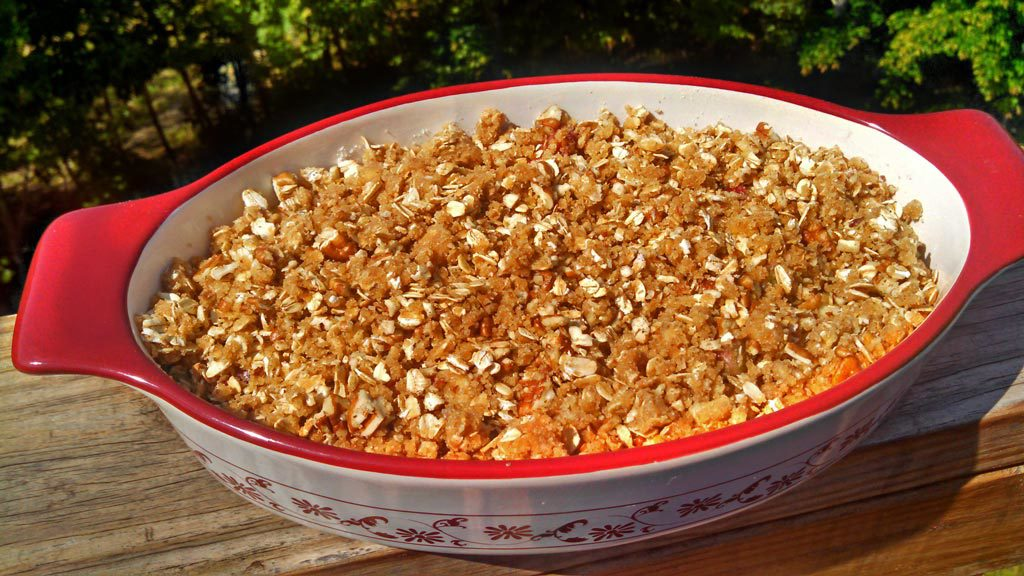 Strawberry Rhubarb Crisp ~ Strawberries and rhubarb coated in sugar with a brown sugar oat topping with warm tones of cinnamon, nutmeg and ginger.   TheMountainKitchen.com