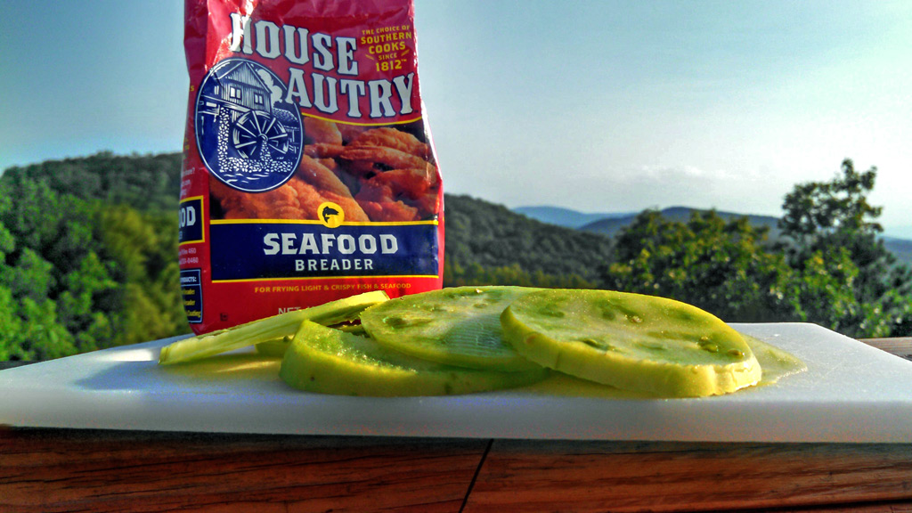 sliced green tomatoes with seafood breader