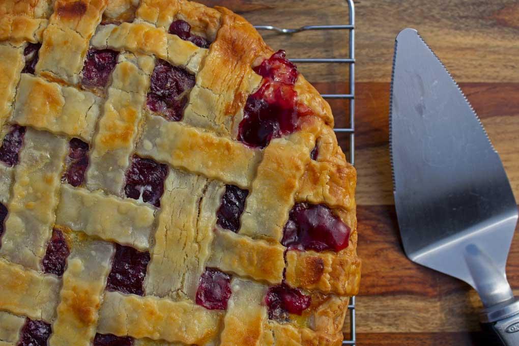homemade cherry pie ready to serve