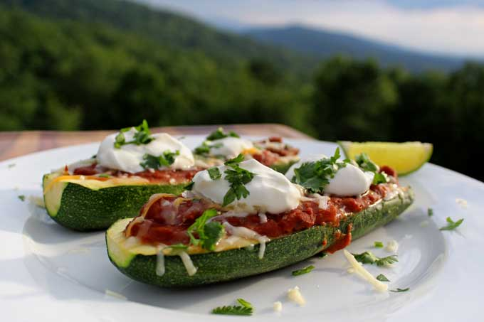 meatless Mexican zucchini boats with mountain view
