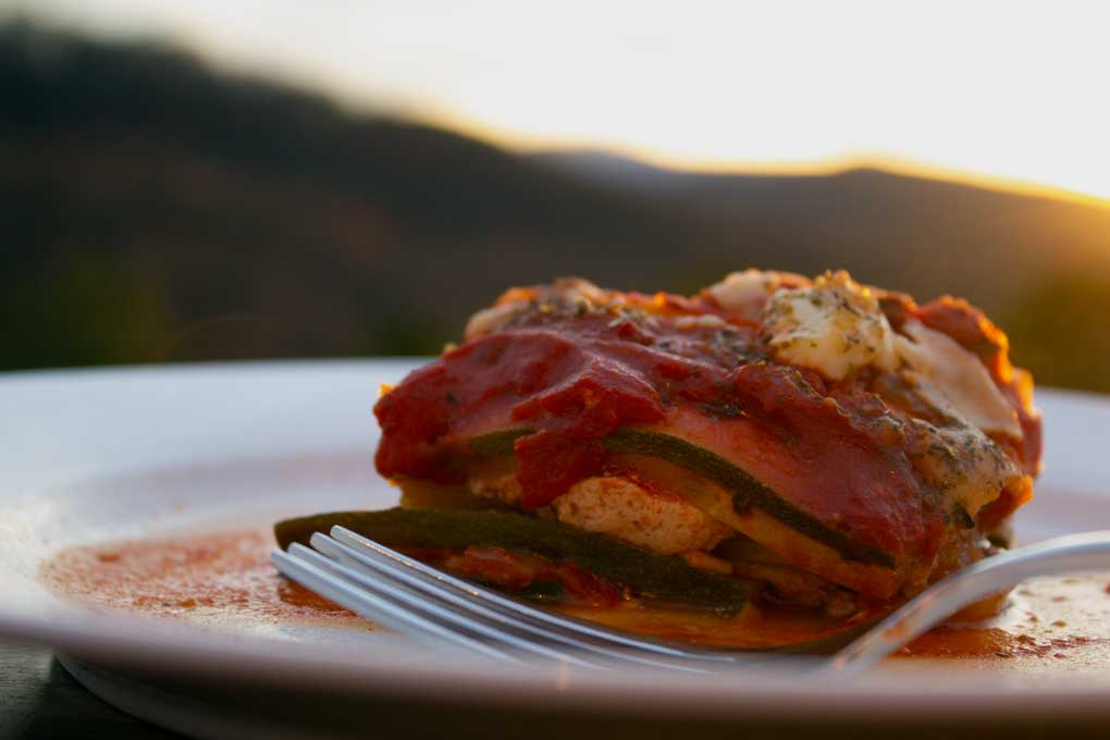 no-noodle vegetable lasagna with mountain view