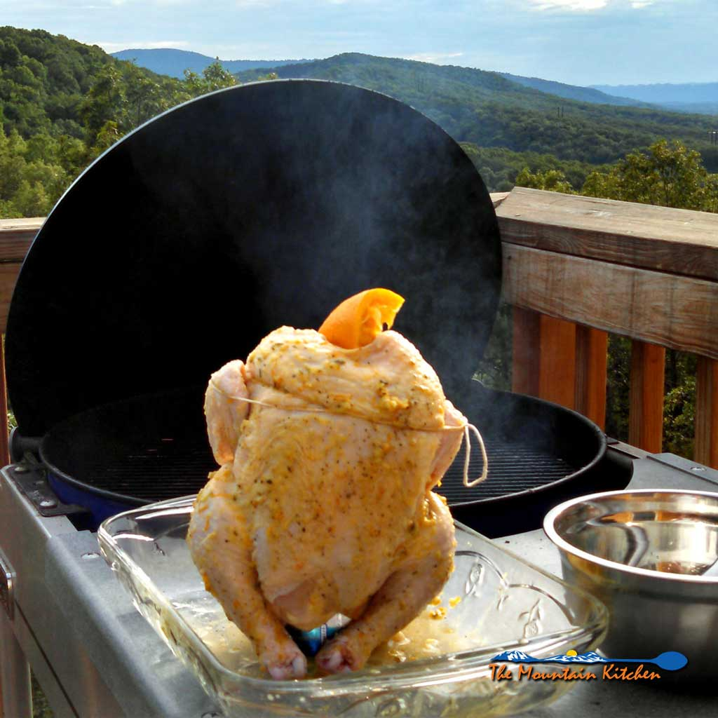 Beer Can Chicken With Rosemary Garlic Orange Butter Sauce
