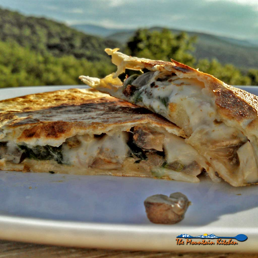 Spicy Pepper Jack Mushroom-Spinach Quesadillas {A Meatless Monday Recipe