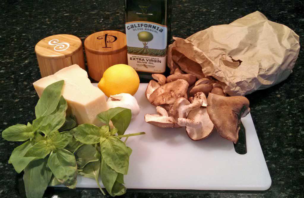 ingredients to make zesty shiitake mushroom pasta