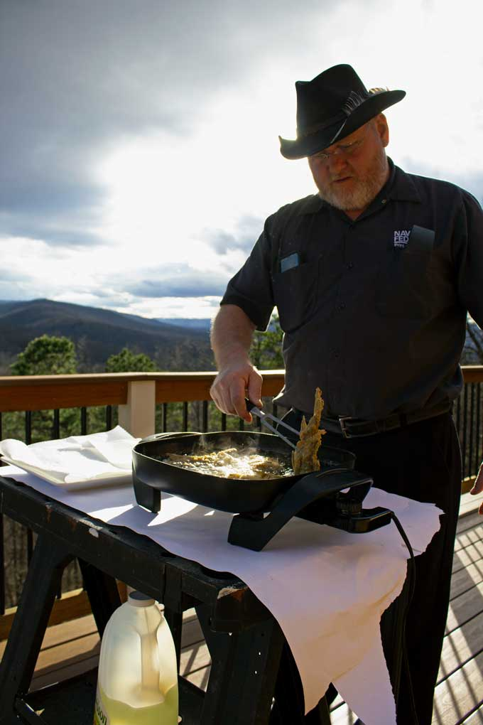 David frying fish outside