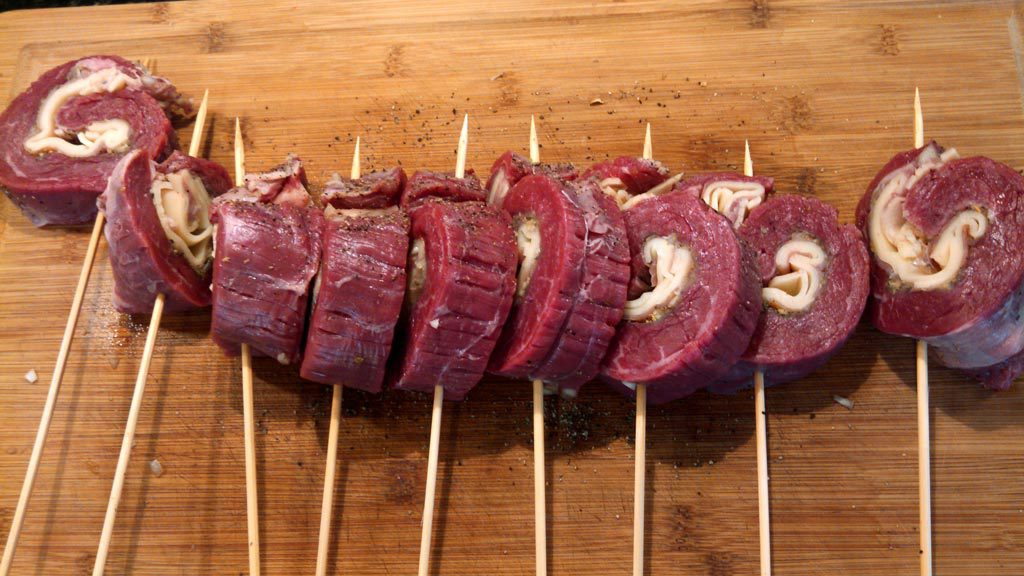 """Grilled Stuffed Flank Steak: """"Italian Meat Pops"""" ~ Flank Steak stuffed with prosciutto, provolone, garlic & herbs and spices then grilled to perfection. 