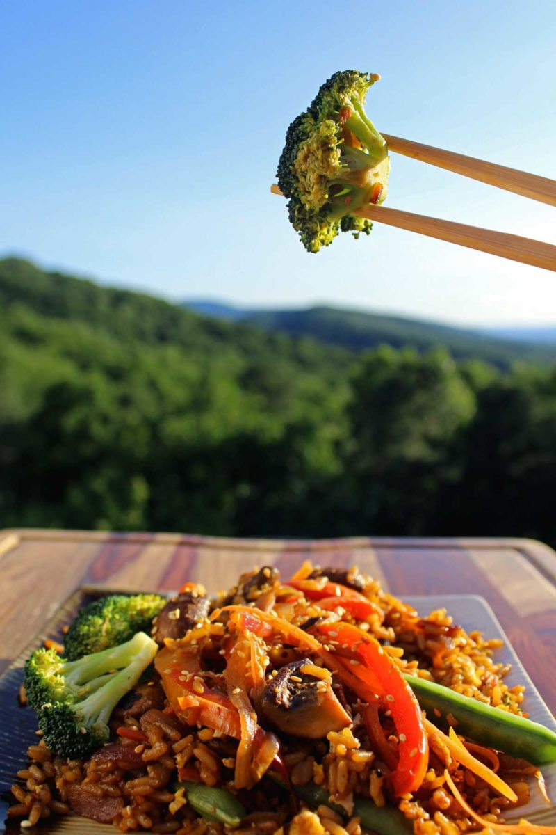 broccoli held up with chop sticks and mountain view