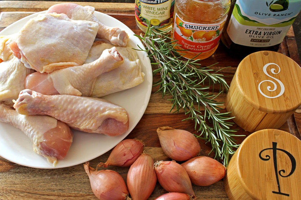 Inspired by Julia child, this Chicken À L'Orange uses a sweet and savory chicken roasted with shallots and basted with a rosemary, orange marmalade glaze.