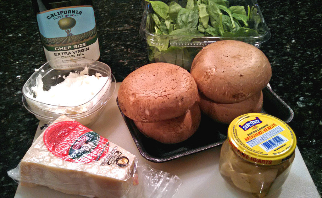 ingredients to make creamy spinach and artichoke stuffed mushroom recipe