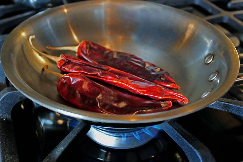 chilies in a pan