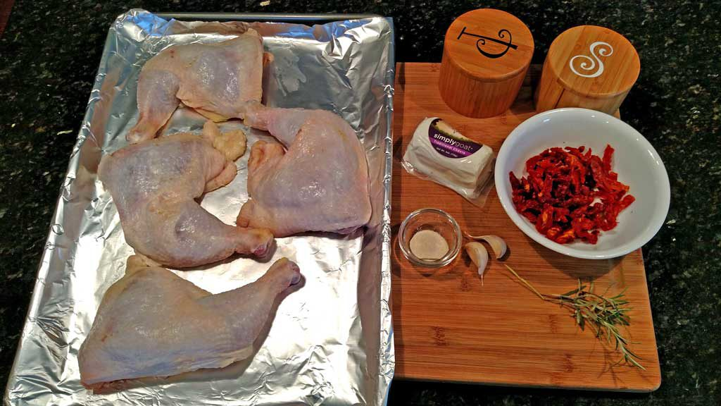 this recipe for sun dried tomato goat cheese stuffed chicken is chicken leg quarters with - Barefoot Contessa Goat Cheese Chicken