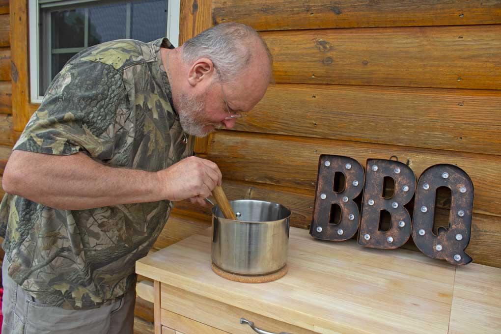 david stirring saucepan