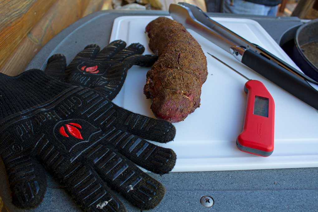 grilling gloves with food