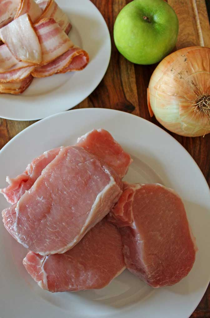 pork chops with ingredients on board