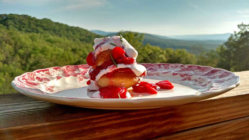 Strawberry Shortcake Surprise is made with light fluffy shortcake cupcakes covered in thick syrupy strawberry compote, fresh strawberries and whipped cream. | TheMountainKitchen.com