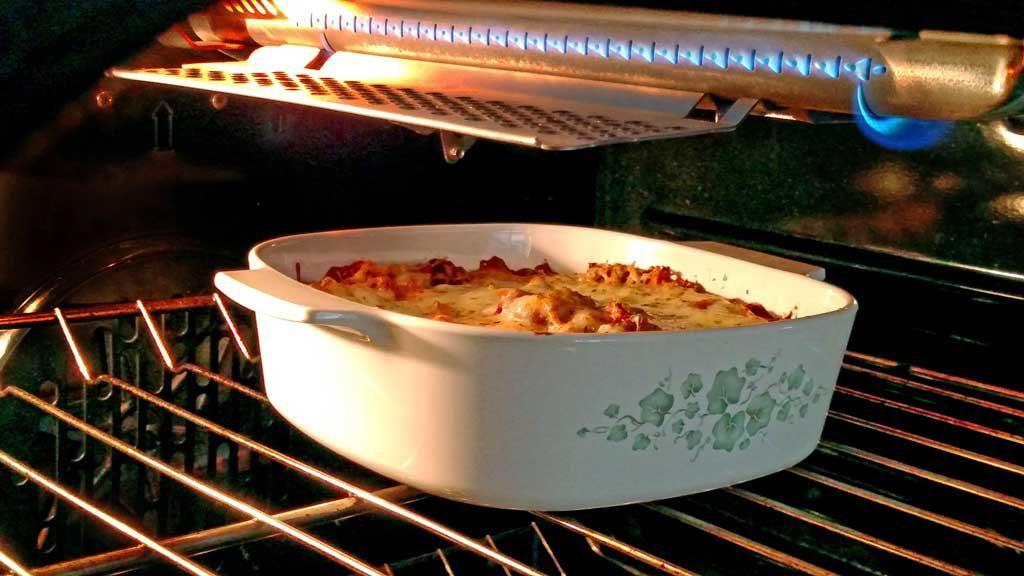 spaghetti baking in oven